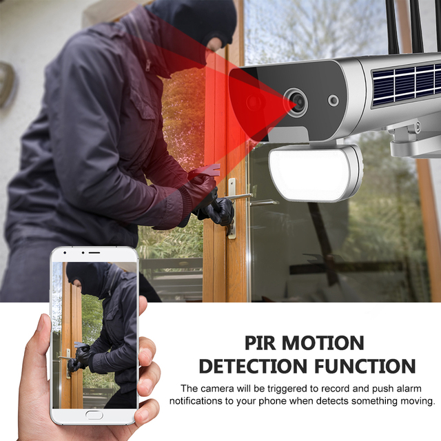 Wireless HD 1080P WiFi IPCamera Solar&Battery Power Bullet  PIR Motion Detection Waterproof Thunderproof Outdoor Security Camera 6