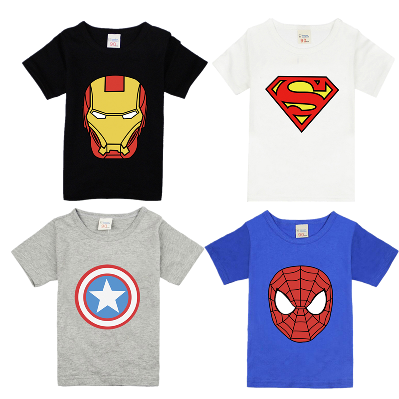 Kids T-shirt For Boys Tees Avenger Children Boys Girls Iron Man Superhero Spiderman Batman T Shirts Girls Boys Cartoon Summer
