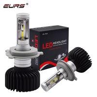 EURS 2pcs H4 led Hi lo Car LED Headlight Bulbs H7 led H11 Fanless 9006 50W 8000LM 6500K CSP LED Lamp Lighting Bulb 12v 24v C8