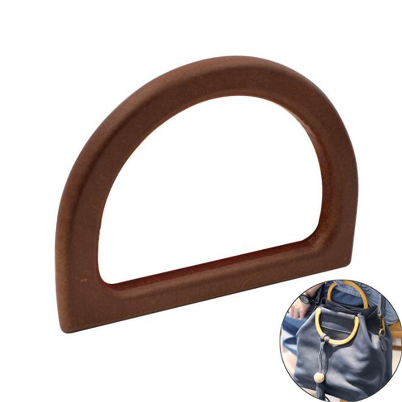 2019 1Pcs D-shaped Wooden DIY Handbag Handle Purse Frame High Quality Wooden Handle Replacement Bag Accessories Purse Supplies