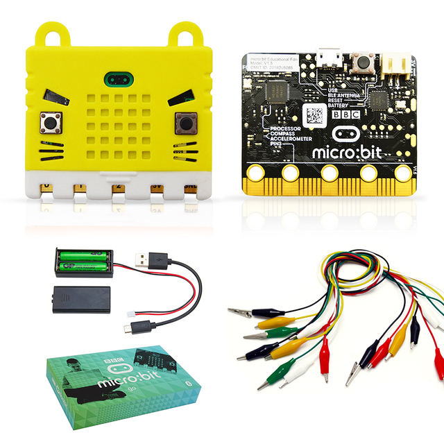 BBC micro:bit Go start kit with Protective Case Non acrylic Silicone Case and 10 Pieces Alligator Clips Test Lead
