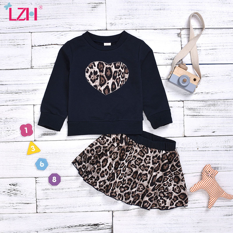 LZH 2020 Baby Girls Clothing Autumn Cotton Fashion Leopard Long-sleeved+Short skirt 2pcs Outfit Suit Baby Girls Set 1-6 Year