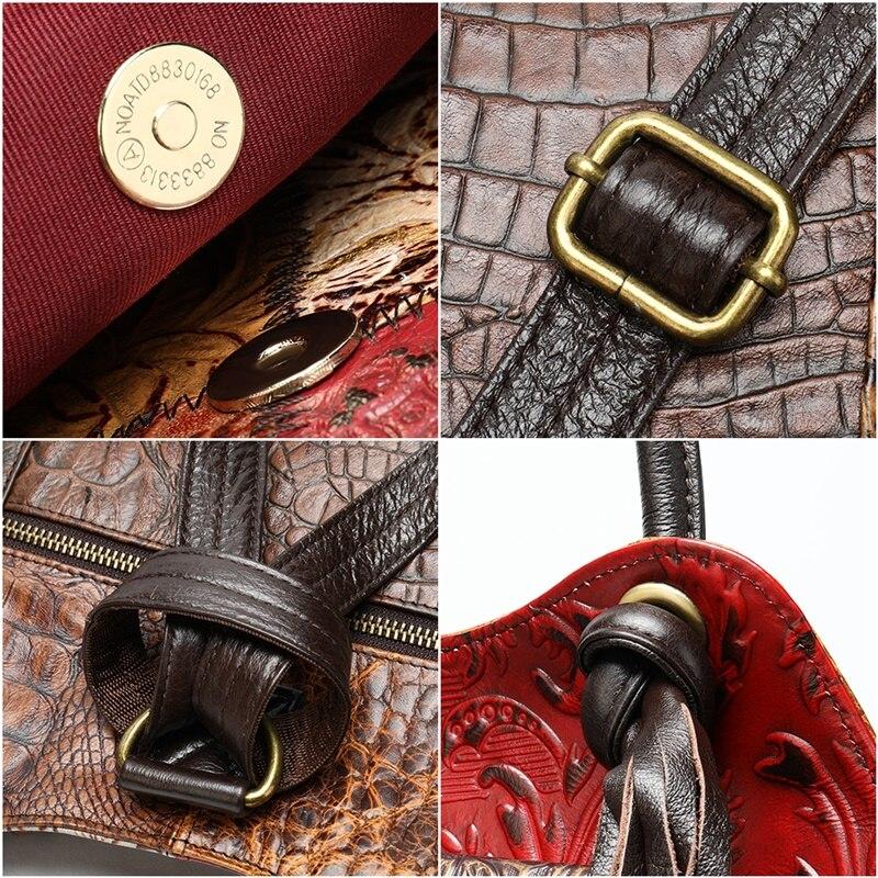 WESTAL Patchwork sacs à dos pour femmes sacs d'école en cuir véritable pour adolescent sac à dos pour ordinateur portable sac à bandoulière femme école sac à dos - 6