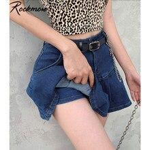 Rockmore-faldas cortas de mezclilla de corte en A para mujer, ropa de calle con bolsillos por encima de la rodilla, Harajuku, coreanas, sexys, Mini faldas informales para Club