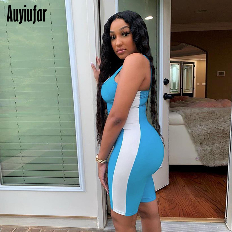Auyiufar Fashion Bodycon Playsuits Sleeveless Womens Romper Backless Patchwork Skinny Sporty Active Wear Basic Jumpsuits 2019