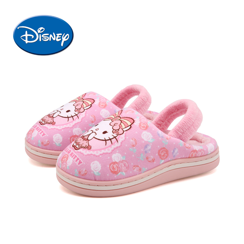 Disney Cartoon Hello Kitty Children Slippers Autumn And Winter Indoor Warm Shoes Non-slippery Kids Cotton Shoes #M-KY121801