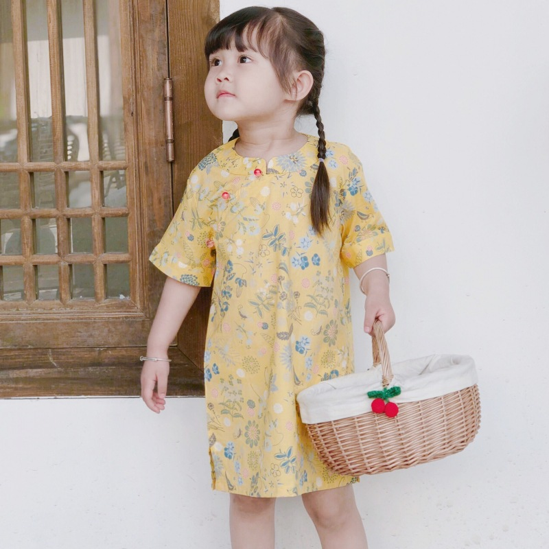 2019 Summer New Style Floral-Print Parent-child Matching Outfit Cheongsam Retro Pure Cotton Chinese-style Mother-daughter Matchi