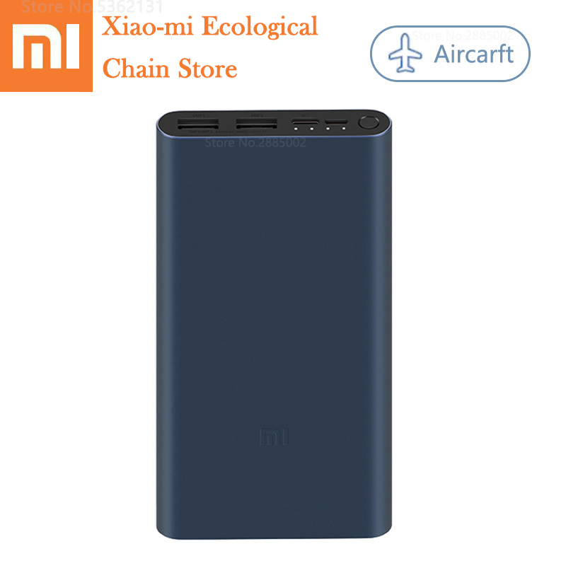 Newest <font><b>Xiaomi</b></font> <font><b>Power</b></font> <font><b>Bank</b></font> <font><b>3</b></font> <font><b>10000mAh</b></font> Fast Charging Portable Powerbank Dual USB Port Portable Charger Ultra-thin External Battery image