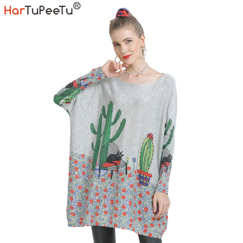 2020 Autumn Winter Sweater Women Oversize Korean Funny Print Pullover Knitwear Batwing Long Sleeve Slash Neck Basic Tops figure print batwing sleeve top