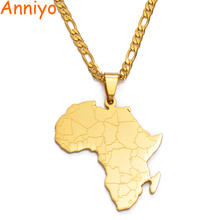 Anniyo хип-хоп стиль кулон Карта Африки ожерелья золотого цвета ювелирные изделия для женщин мужчин карты Африки Ювелирные изделия Подарки#043821