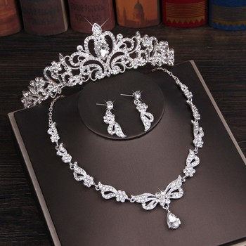 3PCS Rhinestone Crystal Butterfly Bridal Jewelry Sets Necklace Earring Tiara Set Wedding Hair Ornaments African Bead Jewelry Set