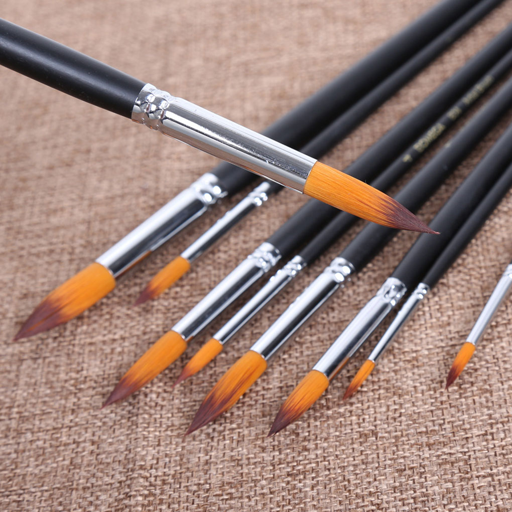 ZHUTING 9 Pcs Black Wooden Handle Pointed Tip Brush Set Nylon Hair Art Artist Paint Supplies Watercolor Oil Painting Canvas