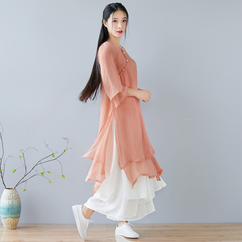 2020 Vintage Casual Retro Formal Cheongsam Set Chinese Dress Cheongsam Qipao Cotton Linen Hemp Dresses Flax Robe Zen Tea