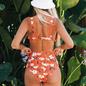 Image 2 - CUPSHE כתום פרחוני גבוה מותן ביקיני סטים סקסי מרופד כוסות בגד ים שתי חתיכות בגדי ים נשים 2020 חוף רחצה חליפות