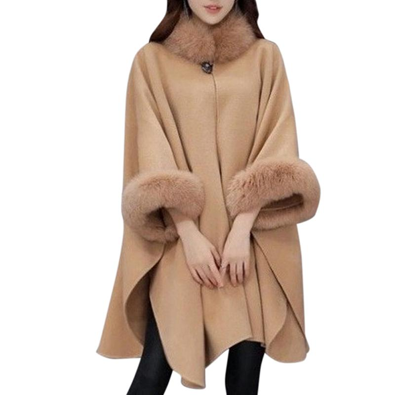 Women Wool Coat Camel Poncho Winter Shawl Cape Feminino Loose Warm Faux Fur Outerwear Cloak Long Overcoat