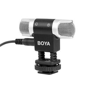 Image 2 - BOYA BY MM3 micrófono de condensador de grabación estéreo de doble cabezal para iPhone 8, Android, teléfono inteligente, cámara DSLR, vídeo de transmisión DV