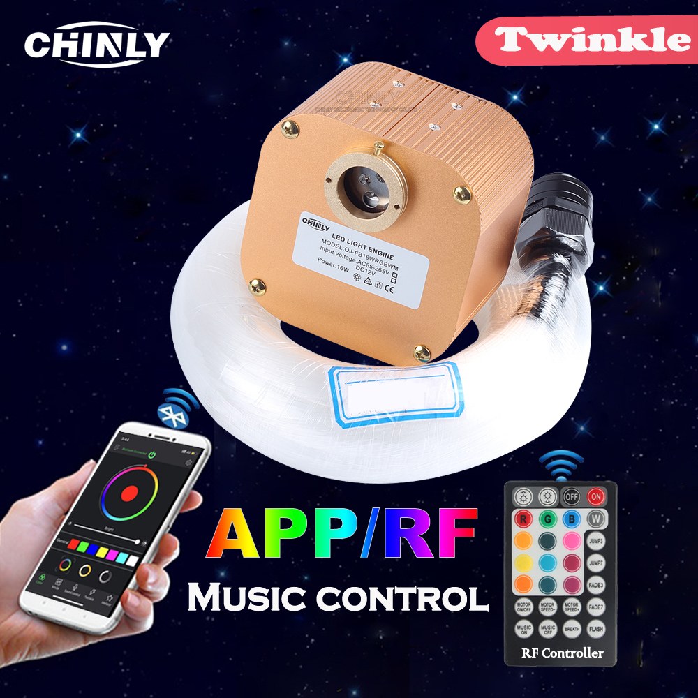 Fiber Optic Light 16W Twinkle Bluetooth APP Smart Control Starry Music Control Car Star LED Light Kid Room Ceiling Lighting