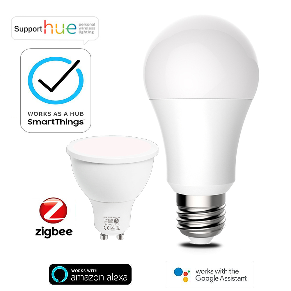Tuya Zigbee 3,0 Smart LED лампа GU10 E27 RGB CCT затемнения светильник работает с Alexa Echo плюс Google Assistant Smartthings оттенка