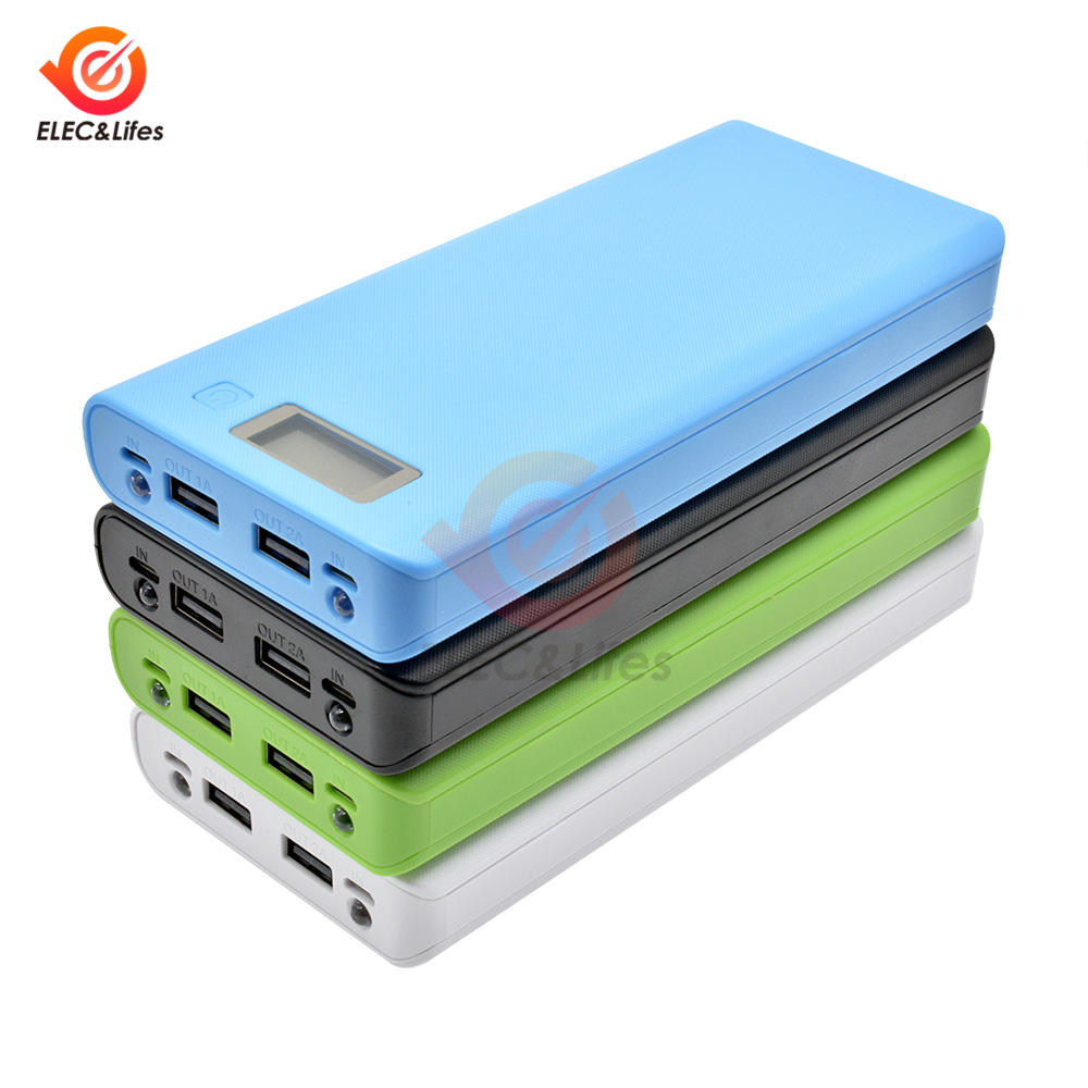 Dual USB 5V 2.1A/ 5V 1A 18650 Battery Box DIY For Power Bank Charger Case 8x18650 Battery Holder LCD Indicator Dual Micro USB