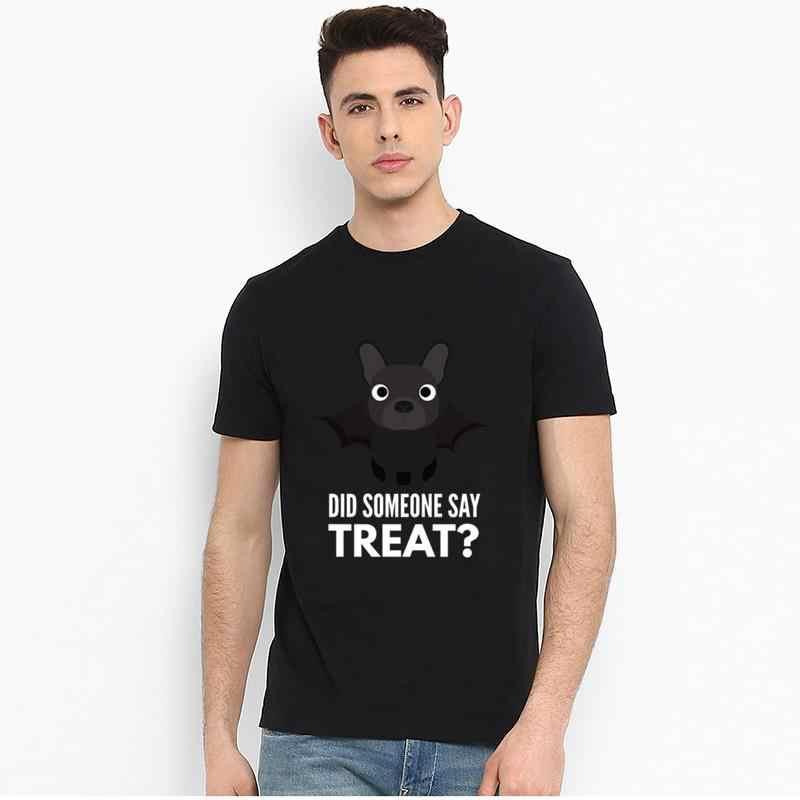 Drukuj buldog francuski halloweenowy cukierek albo psikus t-shirt 3xl 4xl 53xl słynny tupac streetwear homme t shirt tee