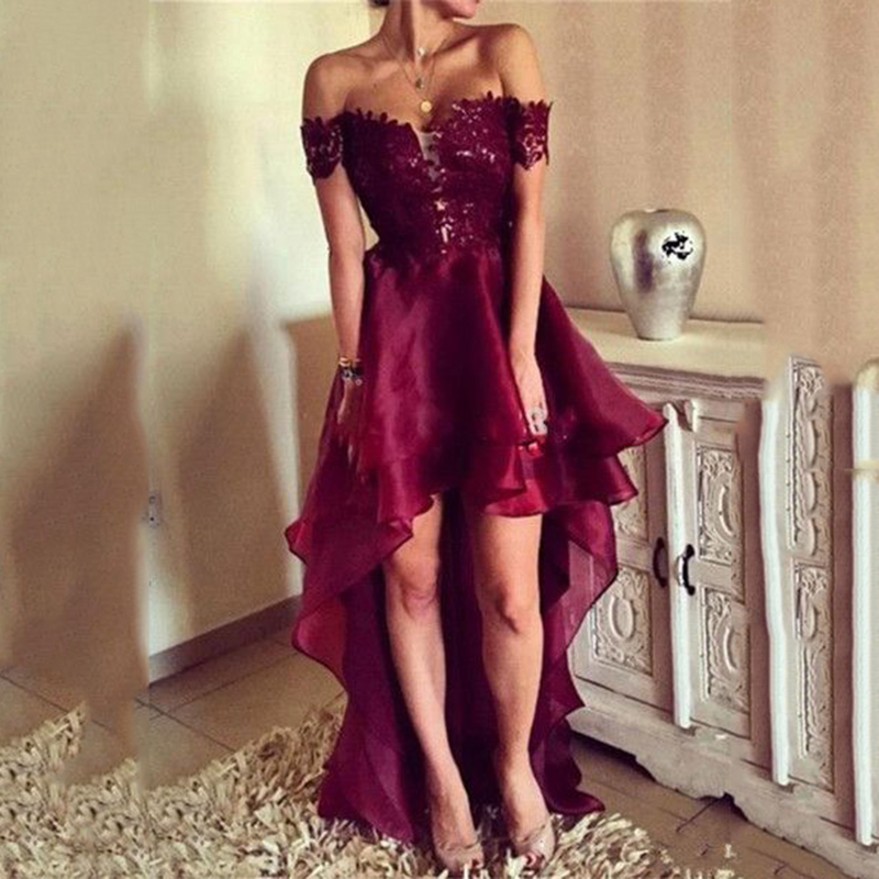 2019 High Low Open Back Appliques Formal Evening Dresses Burgundy Off Shoulder Ruffle Lace Tulle Train Prom Party Gowns