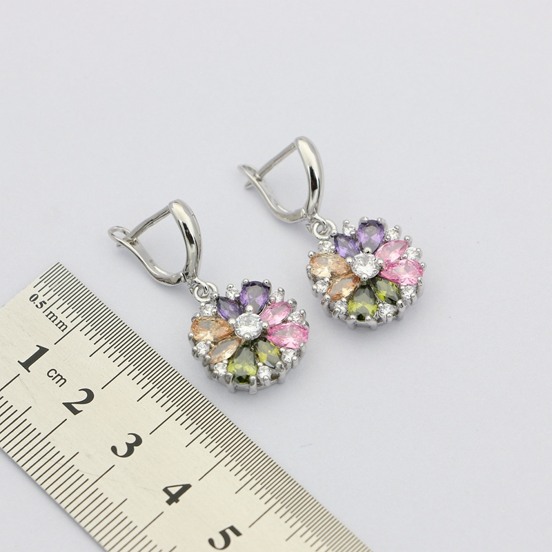 Natural Multicolor Cubic Zirconia Earrings 925 Sterling Silver Jewelry Drop Dangle Earrings With Stone For Women Wedding