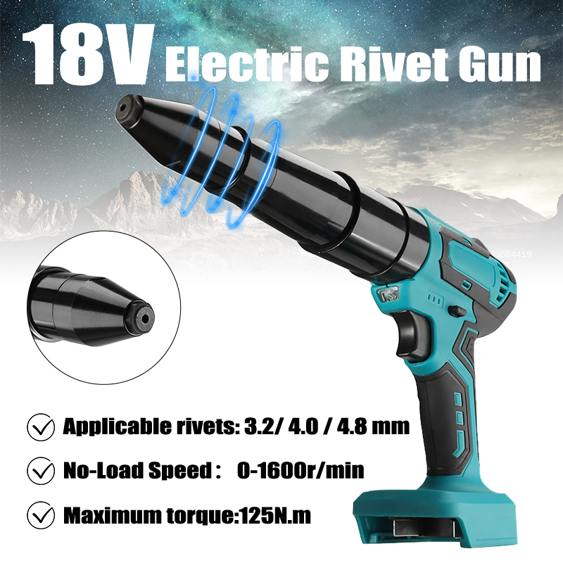 Электрическая заклепочка, беспроводной портативный пистолет для заклепок 18 в 3,2 мм-4,8 мм, отвертка, инструменты светодиодный светодиодной п...