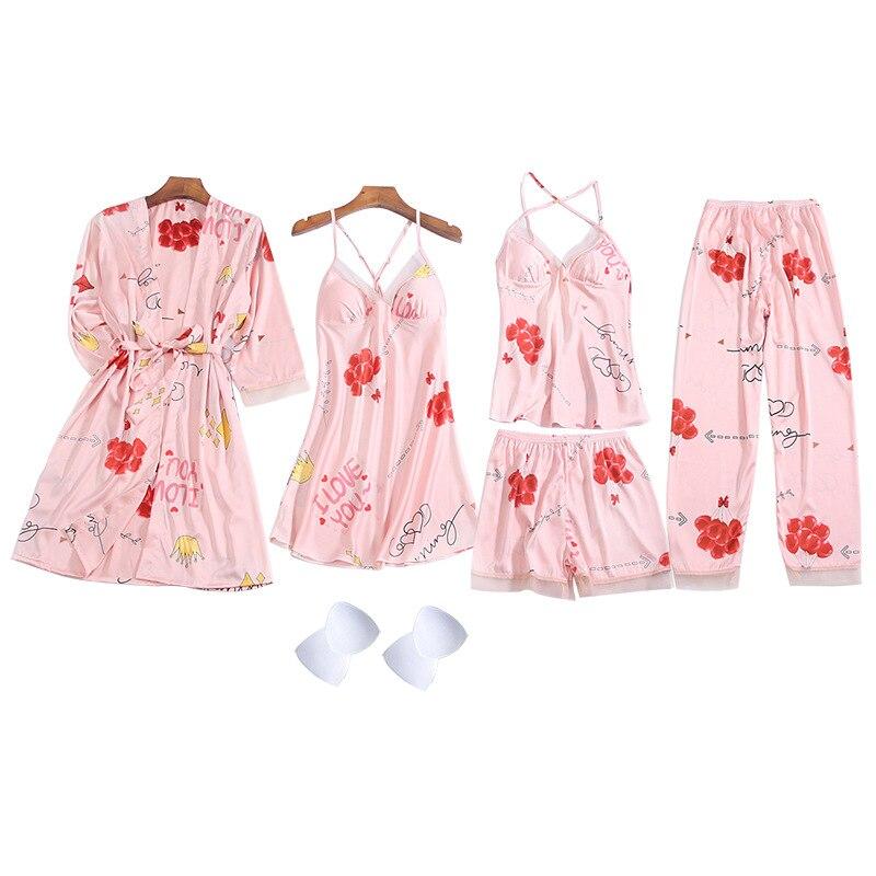QWEEK Pajamas Women Floral 5 Pieces Set Lounge Wear Pyjama Mujer Sleepwear Suit Home Clothes 2020 Pijamas Feminino 2020