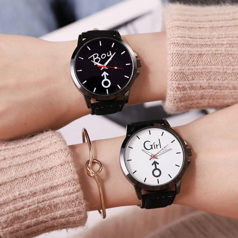 Fashion Retro Belt Casual Unisex Lovers C-a-t Letter Print Round Dial Faux Leather Band Analog Quartz WatchLadies Dress Watches