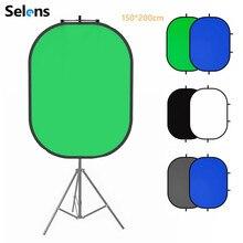 Selens 150X200 Cm 2 In 1 Achtergrond Doek + Magnetische Reflector Houder Studio Screen Fotografie Achtergrond Voor Youtube video Studio