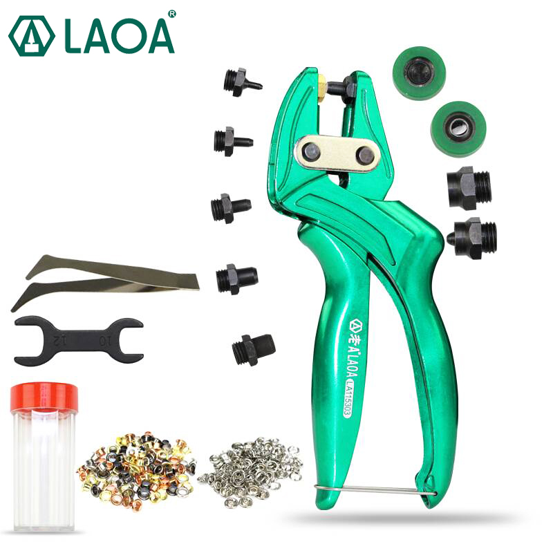 LAOA Multi-fonction Leather Punch Pliers Aluminium alloy Eyelet Puncher Belt punch Button Plier Made in Taiwan