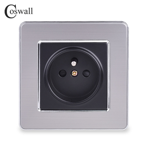 COSWALL 16A French Standard Wall Socket Luxury Power Outlet Stainless Steel Brushed Silver Panel Electrical Plug AC 110~250V()