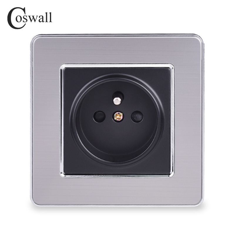 COSWALL 16A French Standard Wall Socket Luxury Power Outlet Stainless Steel Brushed Silver Panel Electrical Plug AC 110~250V