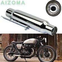 "Motorcycle Chrome Exhaust Muffler w/ DB Killer for Harley Triumph BMW Yamaha Bobber Scrambler Antiqued 12"" Silencer Pipes"
