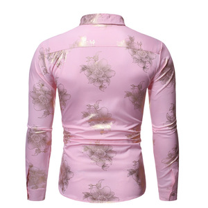 Image 2 - Camisa brillante con estampado Floral dorado para hombre, ropa masculina de manga larga ajustada, informal para boda y fiesta, color rosa, 2019