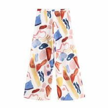 цена на Graffiti Casual Pants Women Chiffon Autumn Print High Waist Wide Leg Pants For Lady