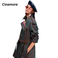 Cinemore 20109 New arrival autumn khaki trench coat women casual fashion high qu