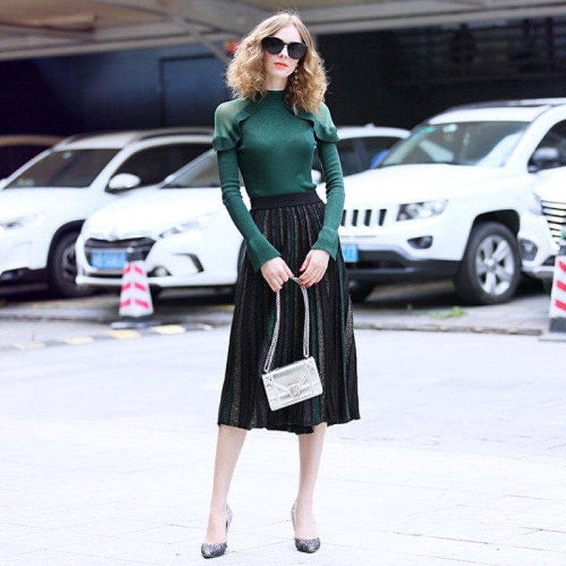 Europe America 2019 Autumn Winter New Pattern Women Fashion Long Sleeves Knitting Top+Stripe Pleated Fold Half Body Skirt Set