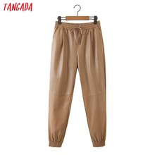 Tangada damskie Khaki PU spodnie skórzane rozciągliwa talia kobiece spodnie jesienno-zimowe spodnie Harm 8H30