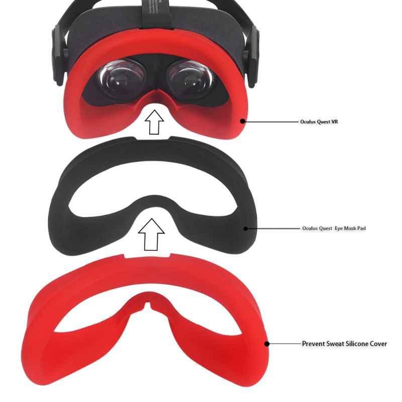 Zachte Siliconen Anti-zweet Oogmasker Case Cover Skin voor Oculus Quest VR Bril Accessoires