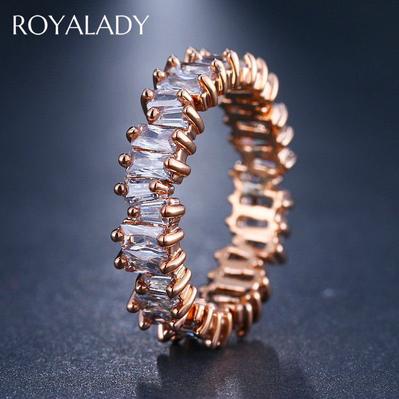 NEW Irregular Thin Baguette Crystal Stone Fashion Gold Rings For Women Engagement Wedding Band High Quality Finger Ring Jewelry