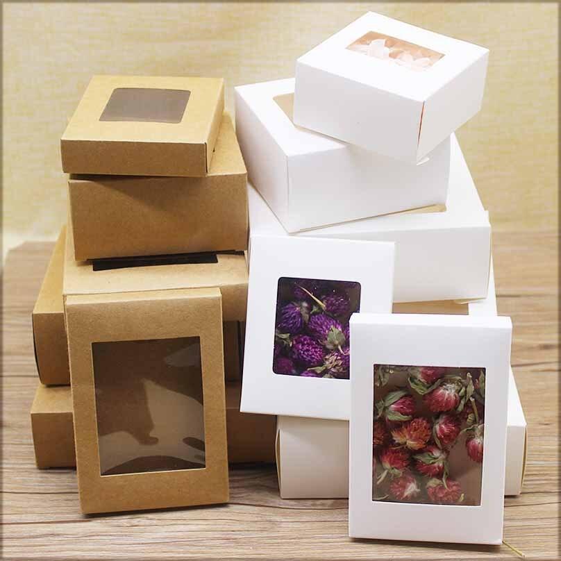 20 stücke DIY Geschenke paket mit fenster weiß/kraft weihnachten geschenke box kuchen Verpackung Für Hochzeit home party muffin verpackung box|Schmuck-Verpackung & Präsentation| - AliExpress