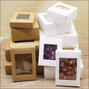 20pcs DIY GIfts package with window white/kraft christmas gifts box cake Packaging For Wedding home party muffin packaging box