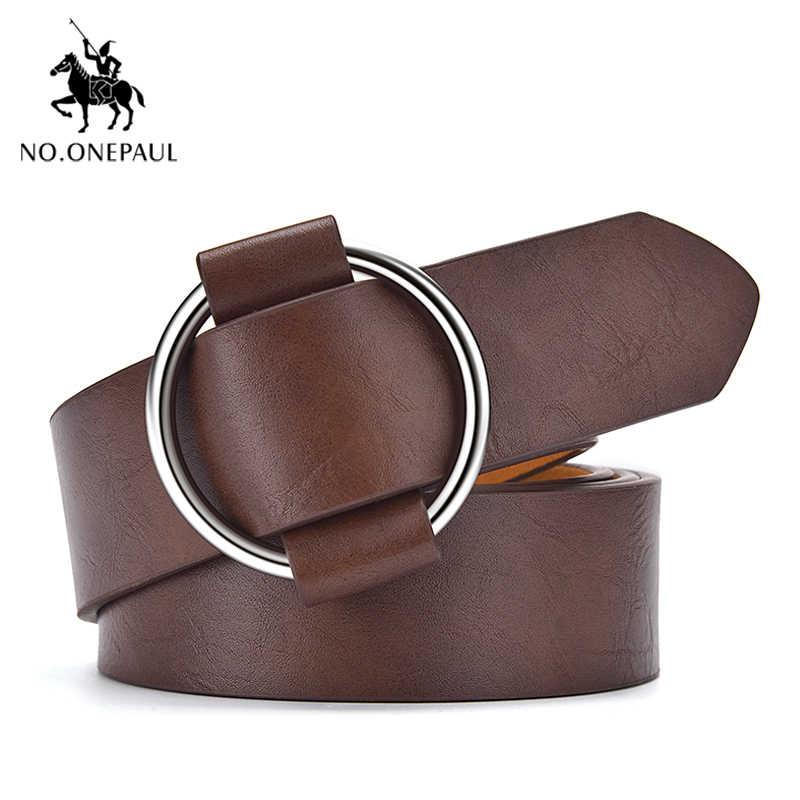 NO. ONEPAUL vestito progettato dal nuovo di modo della cinghia delle Donne del progettista Turno foro senza Retrò fibbia della vita delle donne in pelle cinture
