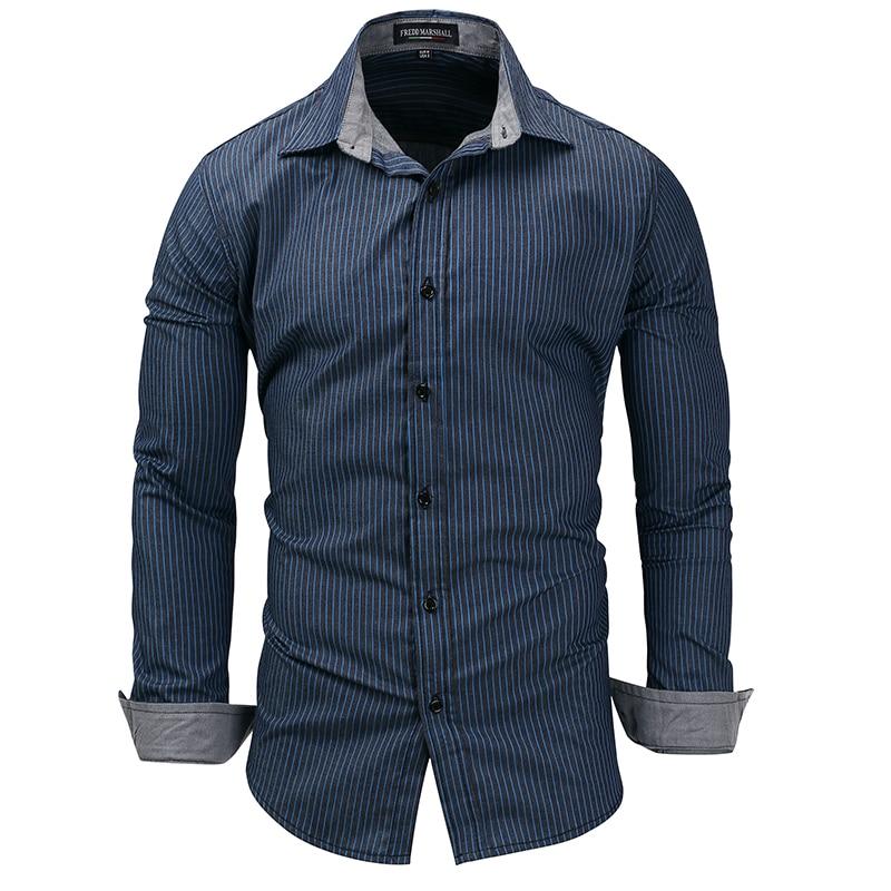 New Denim Shirt Mens Shirts European Code Long-sleeved Casual Business Striped