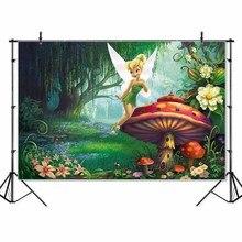Тонкий Виниловый фон для студийной фотосъемки с изображением сказочной земли Тинкер Белл Принцесса гриб детский плакат