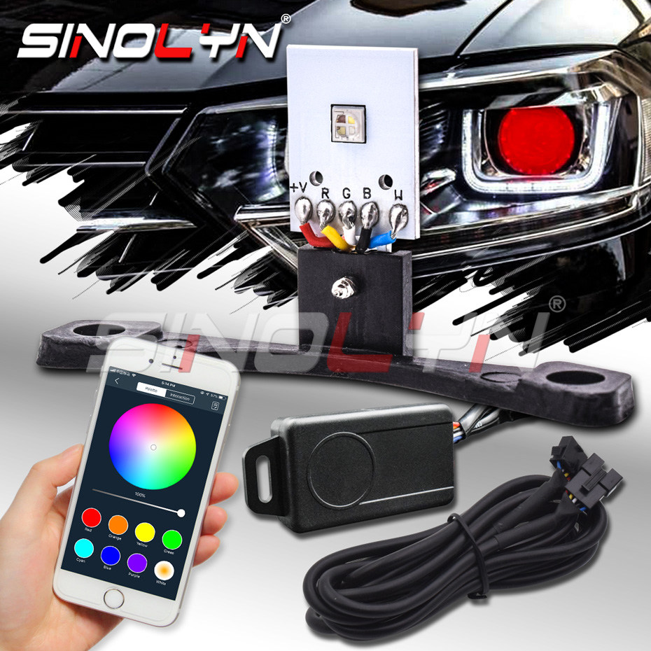 RGB Devil Demon Eyes Bluetooth Kit Smartphone APP-enabled Multi-Color Changing For 2.5 WST/3.0 Hella Projector Headlight Lens