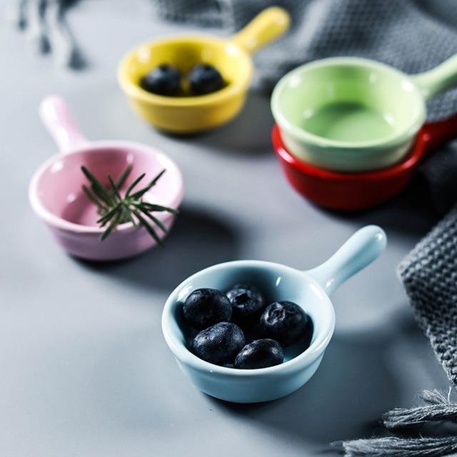 1 PC Creative ceramics  seasoning small dish Round Polygon square Japanese style color sauce sauce dish seasoning plate 2
