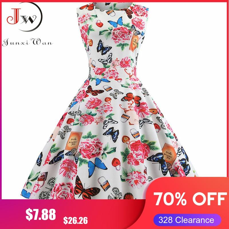 Women Summer Sleeveless Floral Print Midi Dress O Neck Retro Vintage Dresses Vestidos Robe Rockabilly Party Dress Plus Size