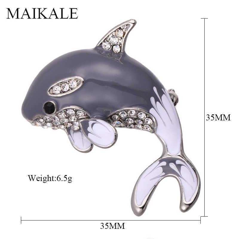 MAIKALE Bello Smalto Dolphin Spilla Spilli Animale Broche Di Pesce di Cristallo Spille per Le Donne Vestiti Dei Capretti del Vestito del Sacchetto di Accessori Regali